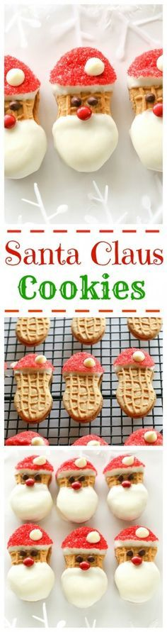Santa Claus Cookies - easy Nutter Butter based cookies to make with your kids that are fancy enough to give to your friends. the-girl-who-ate-...