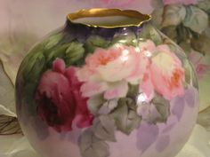 Absolutely Precious Antique Limoges France Hand Painted Petite Jardiniere ~ Master Artist signed Paul Putzki ~ Romantic Pink Tea Roses ~ Bulbous Rose Bowl Footed  Planter  ~ Circa 1900