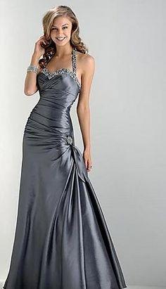 Cute Halter A-Line Light Slate Gray Long Evening Dresses Sale kaladress10049