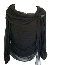 D & Y Womens Blouse Shirt Size Small Bow Dressy Black #DYEvening #Blouse #EveningOccasion