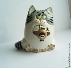 Куклы и игрушки ручной работы. Ярмарка Мастеров - ручная работа кот с рыбой - серия охотники. Handmade.
