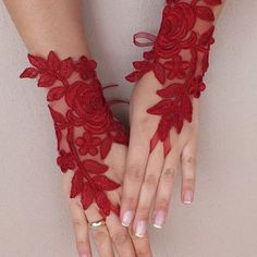 Burgundy lace gloves Wedding gloves free ship red rose bridal gloves fingerless lace gloves french lace gloves free ship from WEDDINGGloves on Etsy. Diy Lace Gloves, Red Gloves, Lace Cuffs, Crochet Gloves, Ladies Gloves, Forearm Tattoo Design, Fantasias Halloween, Wedding Gloves, Hand Jewelry