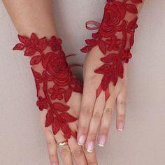 Burgundy lace gloves Wedding gloves free ship red rose bridal gloves fingerless lace gloves french lace gloves free ship from WEDDINGGloves on Etsy. Diy Lace Gloves, Red Gloves, Lace Cuffs, Crochet Gloves, Fantasias Halloween, Forearm Tattoo Design, Wedding Gloves, Hand Jewelry, French Lace