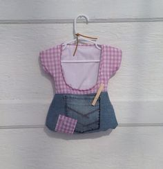 clothespin bag pastel purple ginham and upcycled denim by OhsyDee, $25.00, disgustingly cute!