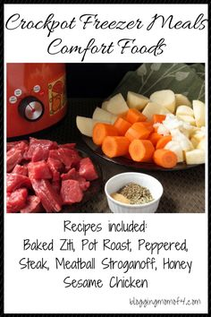 This is the third in the Crockpot Freezer Meals series. This is the Comfort Foods series. The other two series, I gathered several of my Hamburger recipes. Slow Cooker Freezer Meals, Crock Pot Freezer, Freezer Cooking, Crock Pot Cooking, Slow Cooker Recipes, Crockpot Recipes, Cooking Recipes, Batch Cooking, Delicious Dinner Recipes