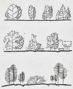 Landscape Sketch, Landscape Drawings, Landscape Design, Tree Sketches, Drawing Sketches, Art Drawings, Drawing Tips, Architecture Concept Drawings, Architecture Graphics
