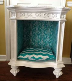 Pet Bed made from an old night stand. Great idea for a place for your buns to re… Pet Bed made from an old night [. Dog Furniture, Repurposed Furniture, Furniture Makeover, Diy Dog Bed, Diy Bed, Dog House Bed, Dog Rooms, Pet Beds, Doggie Beds