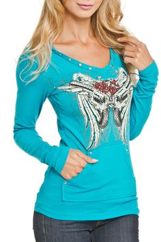 Platinum Plush Gun & Flower Hoodie in Turquoise - Beyond the Rack