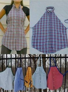 great idea! Recycle a man's shirt into an apron - love this!