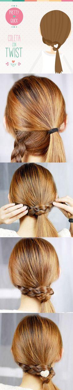 Toma una liga, sujeta tu cabello en la parte baja dejando un mechón y haz una trenza, con ella cubre la liga de la coleta y tendrás un peinado diferente y lindo más rápido de lo que te imaginas.