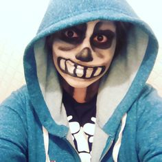 Why didn't the skeleton go to prom?? Cause he's got nobody to go with Hahaha hahaha hahaha ...im so alone :'D  - - #Sans #Sanscosplay #cosplaytest #cosplaymakeup #makeup #cosplayplan #undertale #skeleton #papyrus #Sansmakeup #blue #frisk