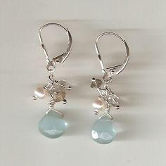 Blue Chalcedony Dangle Earrings.  Fun and flirty. $35.00