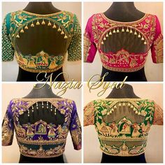 Satiate your desire to bare your back in these Head Turning Statement blouses by Nazia Syed. Stunning multi color designer blouse with pallakilo pelli kuturu design hand embroidery thread work. Choli Blouse Design, Hand Work Blouse Design, Wedding Saree Blouse Designs, Saree Blouse Neck Designs, Stylish Blouse Design, Fancy Blouse Designs, Modern, Streetwear, Churidar