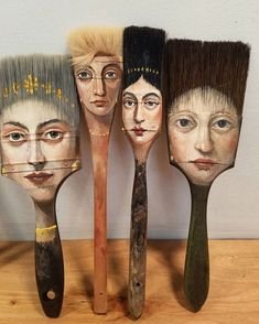 Alexandra-Dillon axe painting brush artwork, Artist Alexandra Dillon Paints Classic Portraits On Everyday Objects Art And Illustration, Illustration Fashion, Art Illustrations, Paint Brush Art, Paint Brushes, Art Sketches, Art Drawings, Drawing Drawing, Drawing Faces