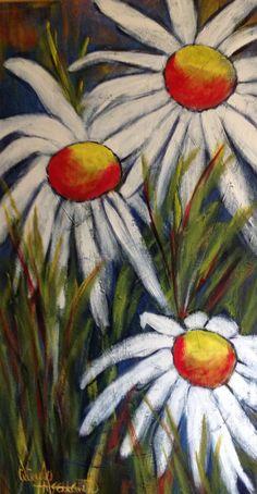 """""""Marguerites en tempête"""" - Acrylique sur toile - 24"""" x 60"""" - Viviane Arsenault - VENDUE"""