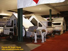 All shapes and sizes! Visiting the huge Florida RV Super Show with snowbirdrvtrails.com! Rv Show, The Fl, Campers, Florida, Shapes, Country, Furniture, Home Decor, Camper Trailers
