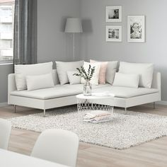 SÖDERHAMN Finnsta white, Corner sofa, If you like the way it looks you have to try it! The deep seats, moveable back cushions and suspension fabric make this seating very comfortable. Living Room Grey, Living Room Furniture, Living Room Decor, Modern White Living Room, Wooden Furniture, Tiny Living Rooms, Apartment Living Rooms, Small Living Room Designs, Antique Furniture