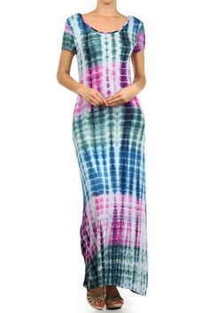 PLUS SIZE TEAL PINK TIE DYE SHORT SLEEVE SCOOP NECK SILKY MAXI DRESS 1X 2X 3X #AllAboutTheGirl #Maxi #Casual