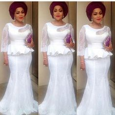 Yes, we are super back with stylish and trendy Aso-Ebi style looks!We are kick-starting the year with over 100 amazing designs you can rock to 2017 weddings. When it comes to looking good and turning heads on the wedding red-carpet, trust us, we have got African Lace Styles, African Lace Dresses, Latest African Fashion Dresses, African Dresses For Women, African Print Fashion, African Attire, African Wear, Africa Fashion, Lace Skirt And Blouse