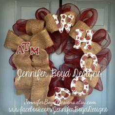 Whoop Texas Aggies ATM deco mesh wreath by Jennifer Boyd Designs.    Find me on Facebook!  www.facebook.com/JenniferBoydDesigns    JenniferBoydDesigns.etsy.com