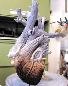 """crossconnectmag: """" Ceramic Sculptures That Look Like Wood by Christopher David White Christopher David White is known for his ceramic creations that double as fantastic optical illusions. It's hard to believe the hyper realistic pieces are made of. Tree Sculpture, Lion Sculpture, Ceramic Sculptures, Human Heart Tattoo, Human Tree, Tree People, Heart Images, High School Art, Ap Art"""