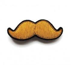 Macon & Lesquoy  Small Embroidered Mustache Pin.: Hand-embroidered mustache pin in cantille. Will appeal to anyone with a taste for unusual accessories.