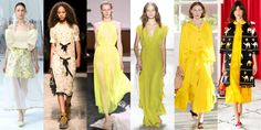 50 SHADES OF YELLOW Thought you couldn't wear the cheery shade? Well think again. This season there's an option out there for everyone, no matter your skin tone. Left to Right: Delpozo, Coach, Jason Wu, Erin Fetherston, Creatures of Comfort, kate spade new york