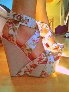 Cute floral strap high heel wedges