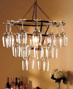 Tuscany Wine Glass Chandelier for Dining Room at DustyJunk.com only $39! #winechandelier #winebottle #wineglass