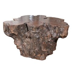 """Large lychee wood table base. One section of wood. 44.5""""L x 42.5""""D x 24""""H."""