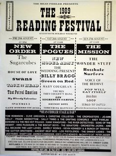 """Reading Festival 1989 line up and we've definately gone """"indie"""". Mind you, Tackhead could certainly kick it."""