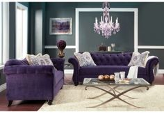 Antoinette Collection Sm2222 Sofa Set Furniture Of America Import Direct Purple Living Room Nice