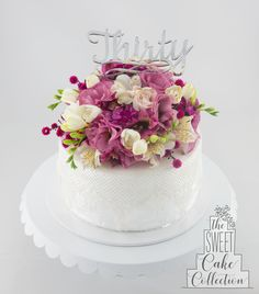 Pink Flowers and Lace Cake