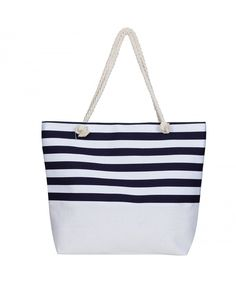 253bd567fc0a Extra Large Beach Tote Bag Stripe Canvas Tote for Beach Travel - Navy -  CH1857GLY73