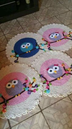 Crochet Rug Tutorial Blankets 24 Ideas Knitting TechniquesCrochet For BeginnersCrochet PatronesCrochet Baby Owl Crochet Patterns, Crochet Owls, Crochet Home, Cute Crochet, Crochet Designs, Crochet Crafts, Crochet Doilies, Crochet Projects, Crochet Flower