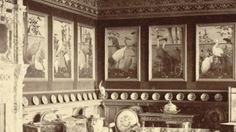 The drawing room of Eaton Hall (Cheshire) at the turn of the century, with Henry Stacy Marks' twelve painted bird panels. Nice, the strange effect of the continuous wall through the panels