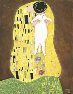 The Kiss, by Gustav Klimt: Cat Version Illustration by Inna Ruda Gustav Klimt, Art Klimt, Art And Illustration, Illustrations, Kunst Inspo, Art Inspo, Arte Indie, Wow Art, Crazy Cats