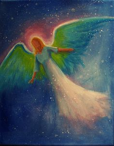 Original Acrylic Painting Healing Energy Angel  8 x by BrydenArt