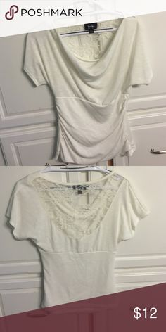 White/cream colored top White/cream short sleeve top, with lace back. Great condition, only worn a few times, smoke free home! Offer welcome! by & by Tops Blouses