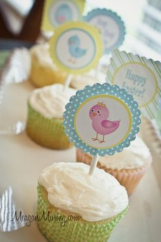 Adorable Easter Printables - Cupcake Toppers from www.meaganmusing.com