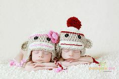 Twin Boy and Girl Sock Monkey Hat by Sweet Love Creates, via Flickr