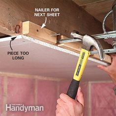See easier ways to hang and handle drywall (aka Sheetrock). We have 10 tips that save time and strain, whether you& working alone or with a crew. Basement Remodel Diy, Basement Remodeling, Drywall Ceiling, Basement Ceilings, Basement Bars, Basement Ideas, Average Kitchen Remodel Cost, Hanging Drywall, Drywall Repair