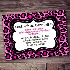 Cheetah print party pink invitation with FREE wording customization on Etsy, $10.00
