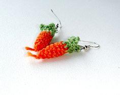 Orange Carrot Earrings handmade Lovely jewelry Crochet jewelry Spring Summer fashion. $15.00, via Etsy.