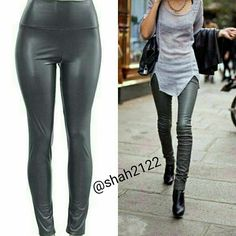 """Faux leather leggings high waisted Gray New Sexy PLEASE DON'T BUY THIS LISTING, JUST COMMENT On  SIZE needed for individual listing.   Gray Faux leather leggings High waist Medium weight Lightly soft Fleece-lined Very Stretchy Fabric Content:65%Polyester +35% cotton   Measurements laying flat Unstretched to stretched (Inseam = 27-28"""") (Total Length= 38-39"""") (Front Rise = 12"""") (Back Rise =14"""")  (Small Waist =11-13"""") (Medium Waist =12-14"""") (LargeWaist =13-15"""") (XL Waist =14- 16 """" )  *Price is…"""