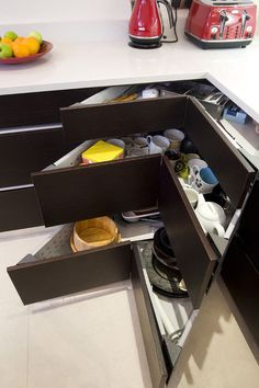 Instead of the lazy susan -- drawers!