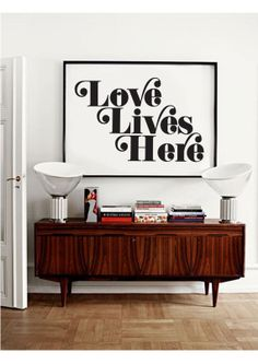 gallery wall? Love Lives Here Typography Poster by wordsdesignlove on Etsy, £12.00