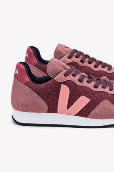 Veja SDU Hexa B-Mesh Sneaker (Burgundy Dried Petal) Sneakers by Amour Vert Veja Sneakers, Recycle Plastic Bottles, Making Out, Organic Cotton, Upcycle, Recycling, Burgundy, Mesh, Pairs