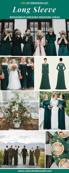 54d4e6459fa Bridesmaid Dresses Long Sleeve. Romantic Bridesmaid DressesEmerald Green  Bridesmaid DressesWhite Bridal ...