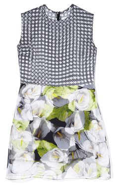 Isolda: Mixed Print Calla Lilly And Wicker Dress